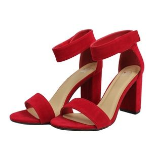 Shoes - Red Open Toe Ankle Strap Velcro Closure Heel